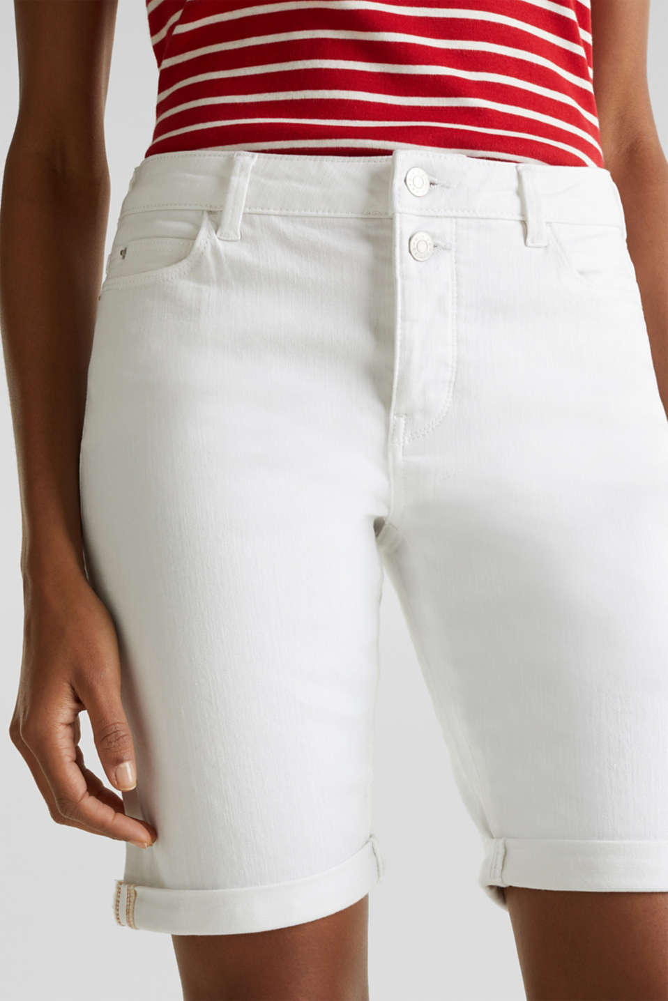 Denim Bermuda shorts with a button placket, WHITE, detail image number 2
