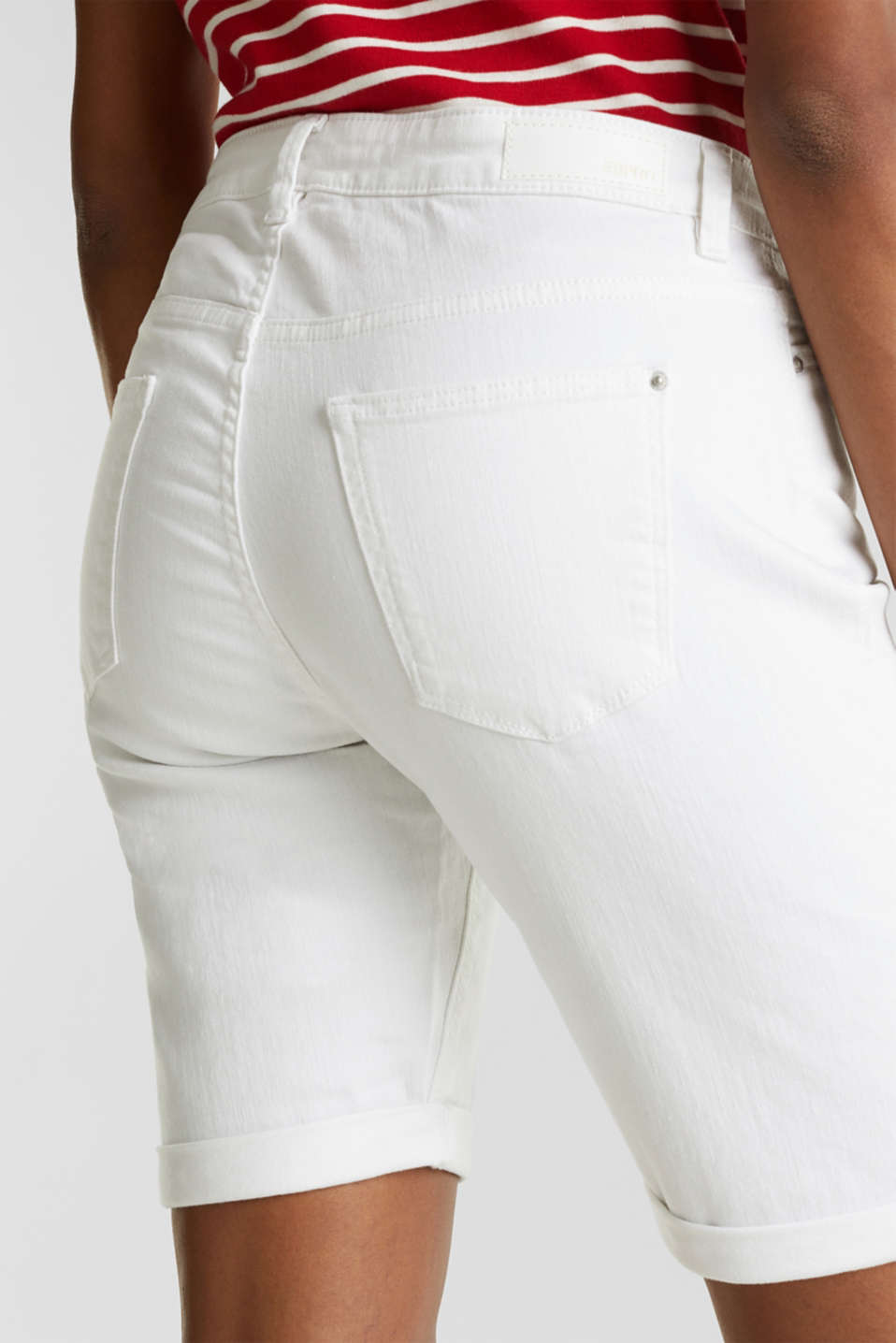 Denim Bermuda shorts with a button placket, WHITE, detail image number 5