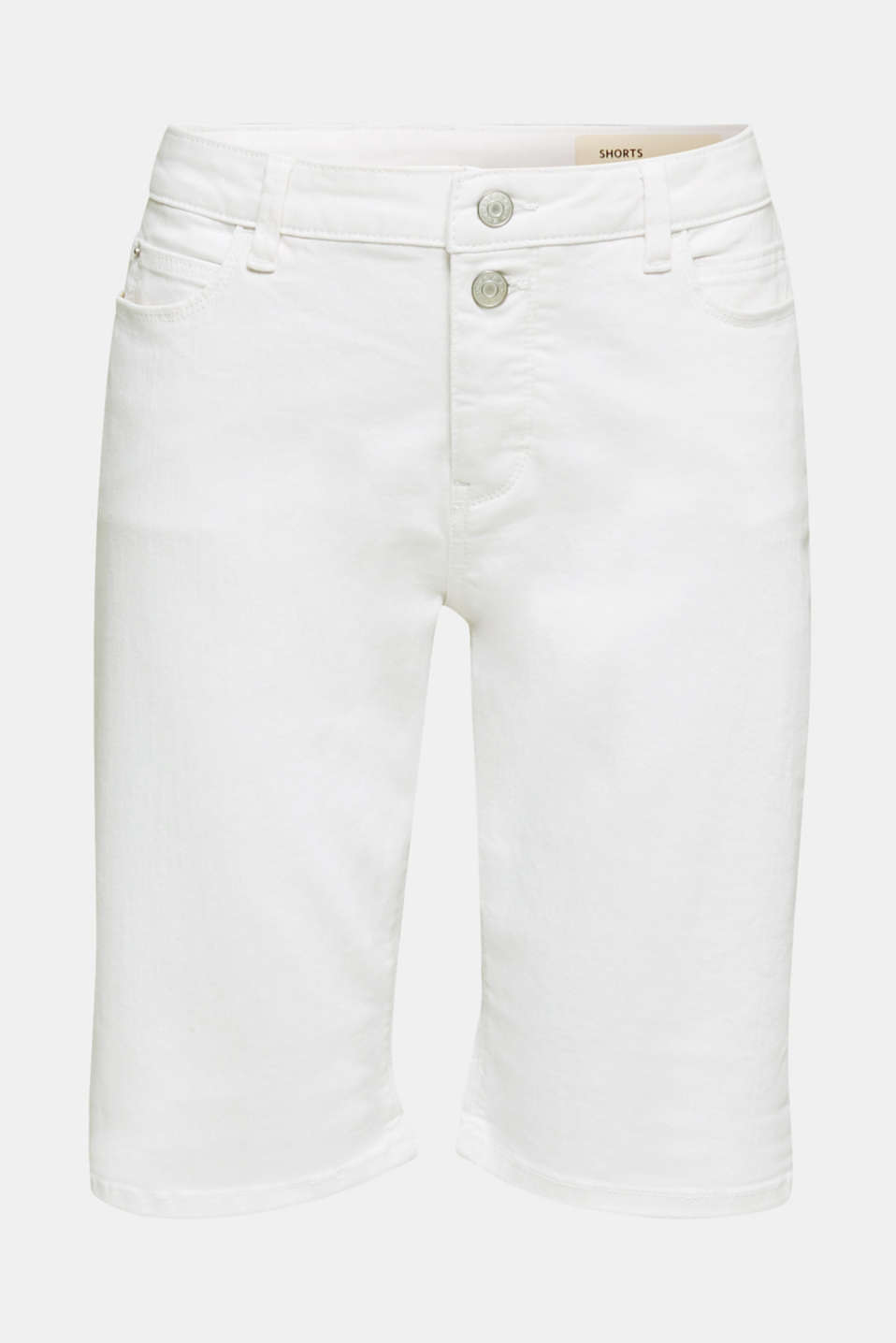 Denim Bermuda shorts with a button placket, WHITE, detail image number 7