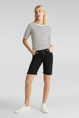 Denim shorts with a button placket, BLACK, detail