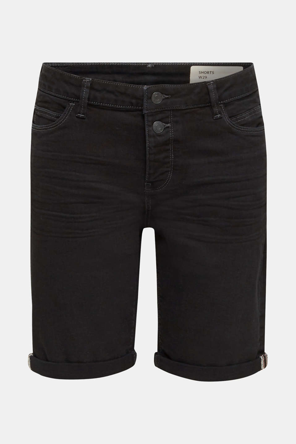 Denim shorts with a button placket, BLACK, detail image number 6