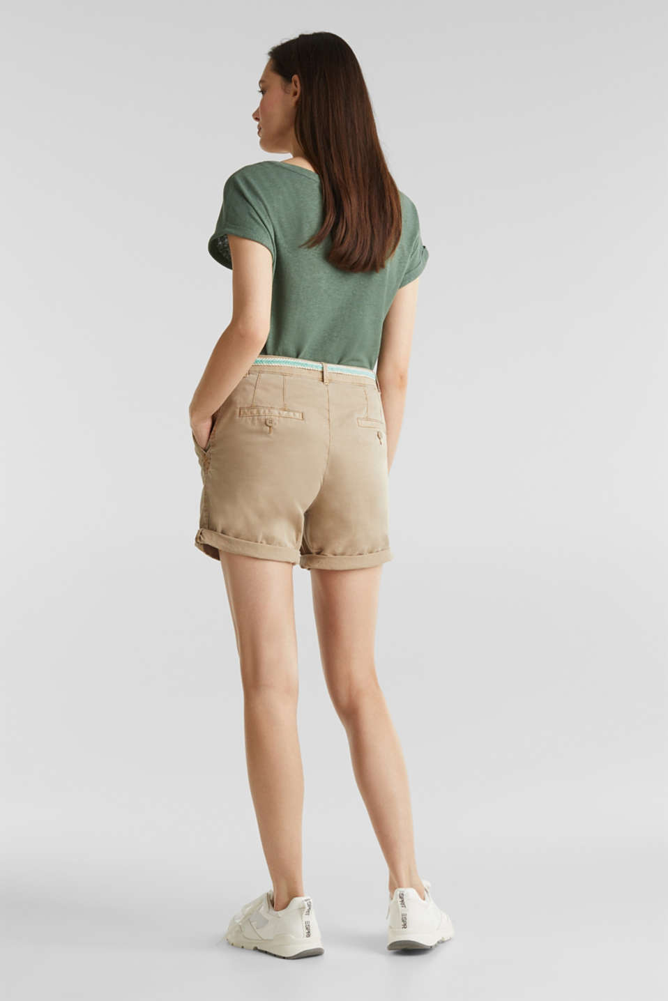 Stretch cotton shorts with Lycra xtra life™, BEIGE, detail image number 3