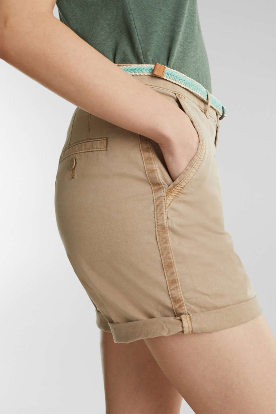 Stretch cotton shorts with Lycra xtra life™, BEIGE, detail image number 5