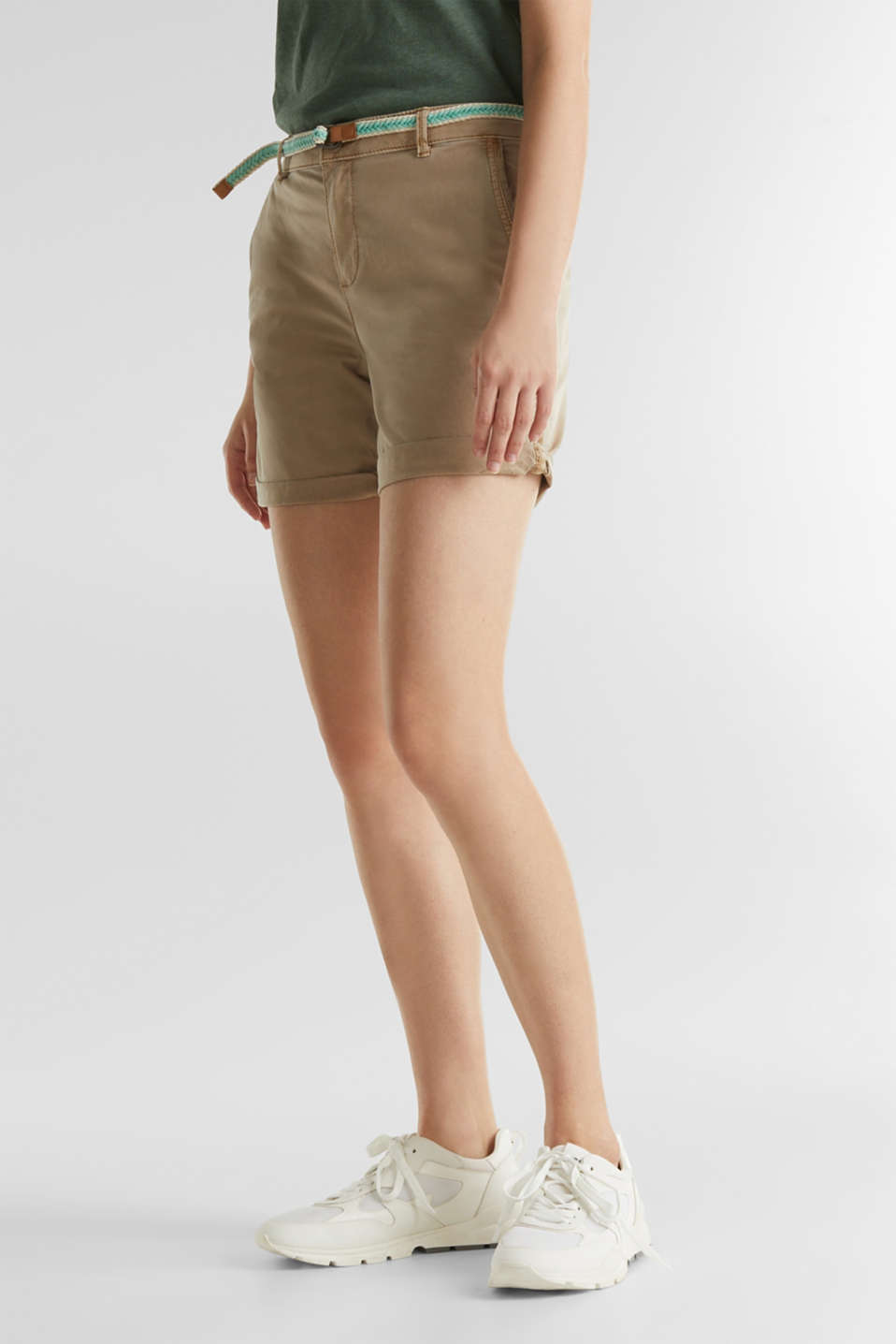 Stretch cotton shorts with Lycra xtra life™, BEIGE, detail image number 7