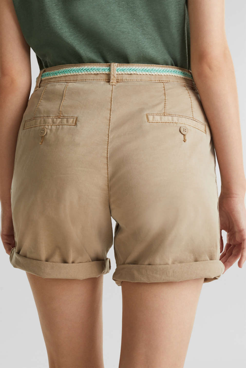Stretch cotton shorts with Lycra xtra life™, BEIGE, detail image number 6