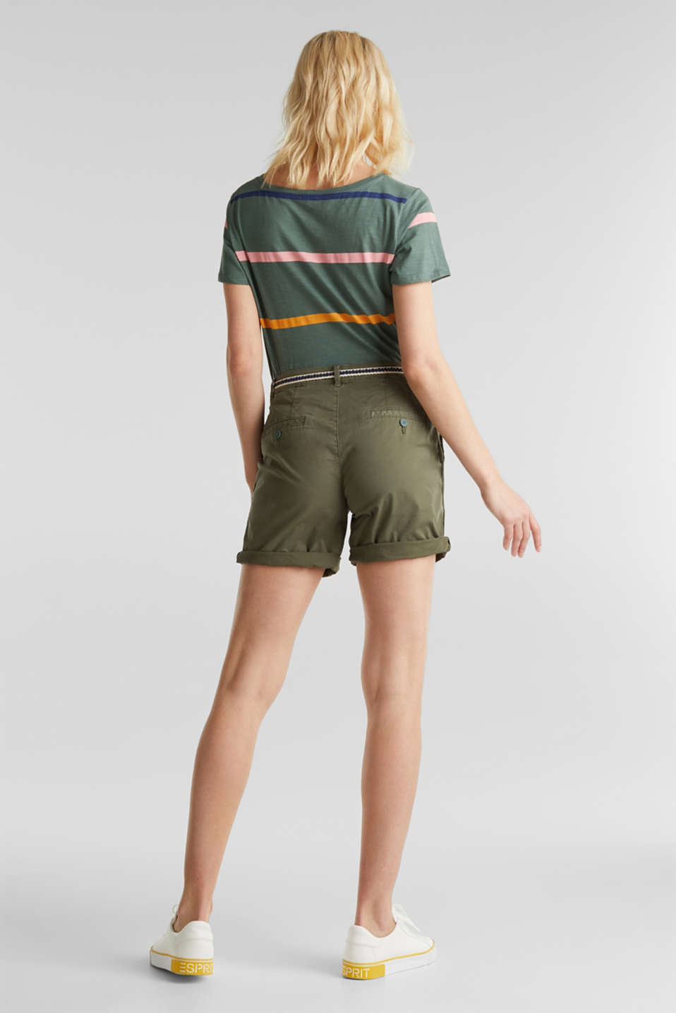 Stretch cotton shorts with Lycra xtra life™, KHAKI GREEN, detail image number 3