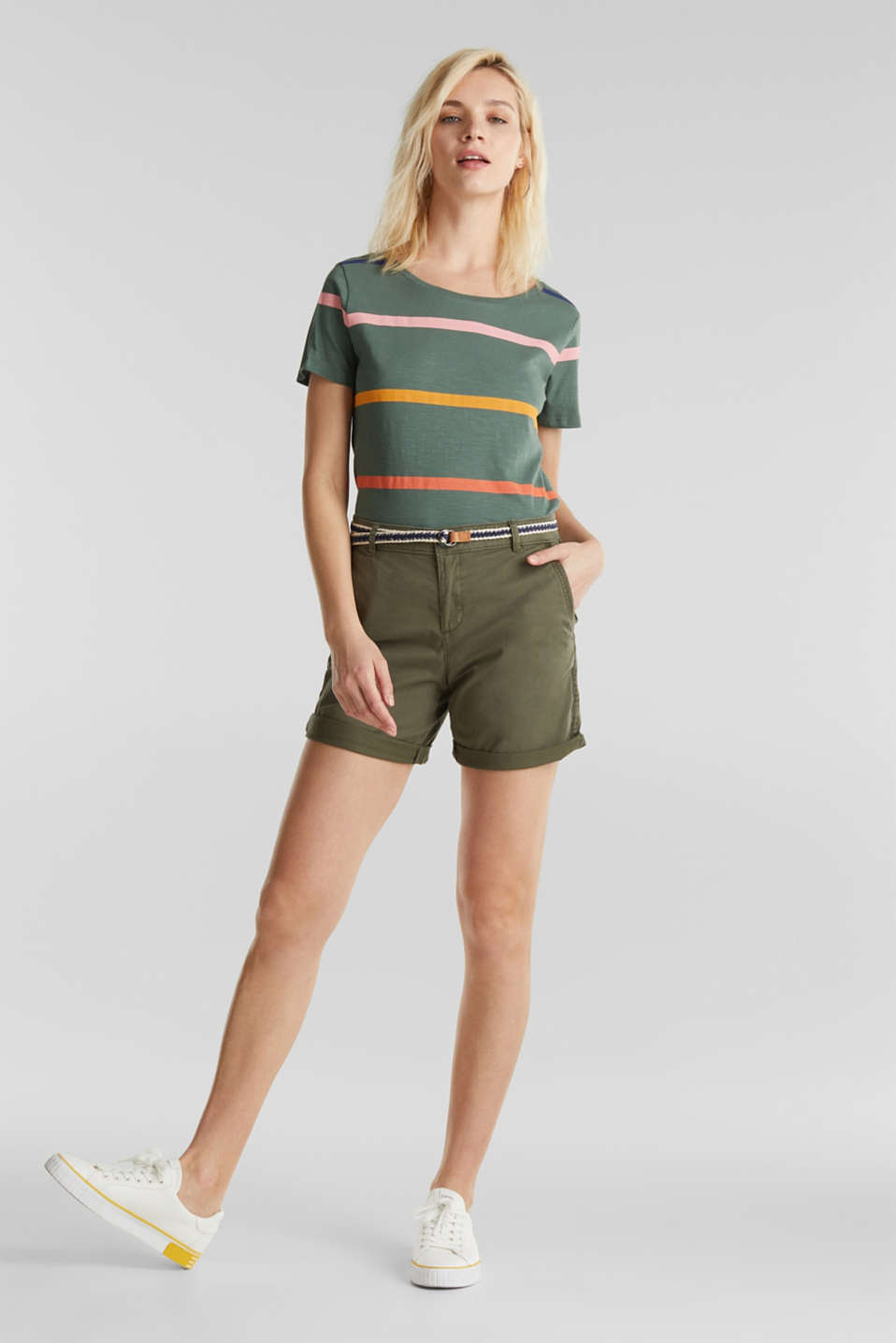 Stretch cotton shorts with Lycra xtra life™, KHAKI GREEN, detail image number 5