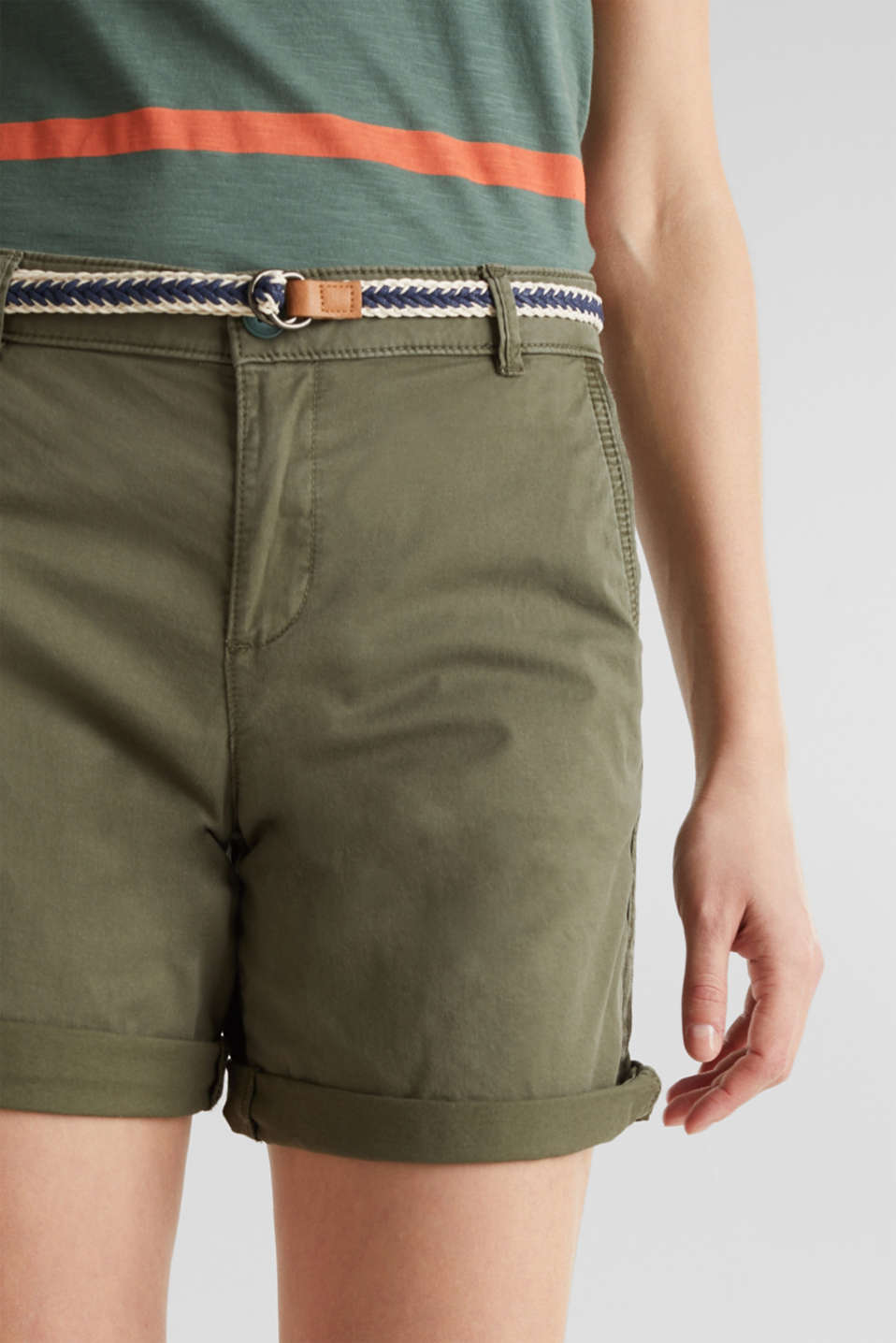 Stretch cotton shorts with Lycra xtra life™, KHAKI GREEN, detail image number 2