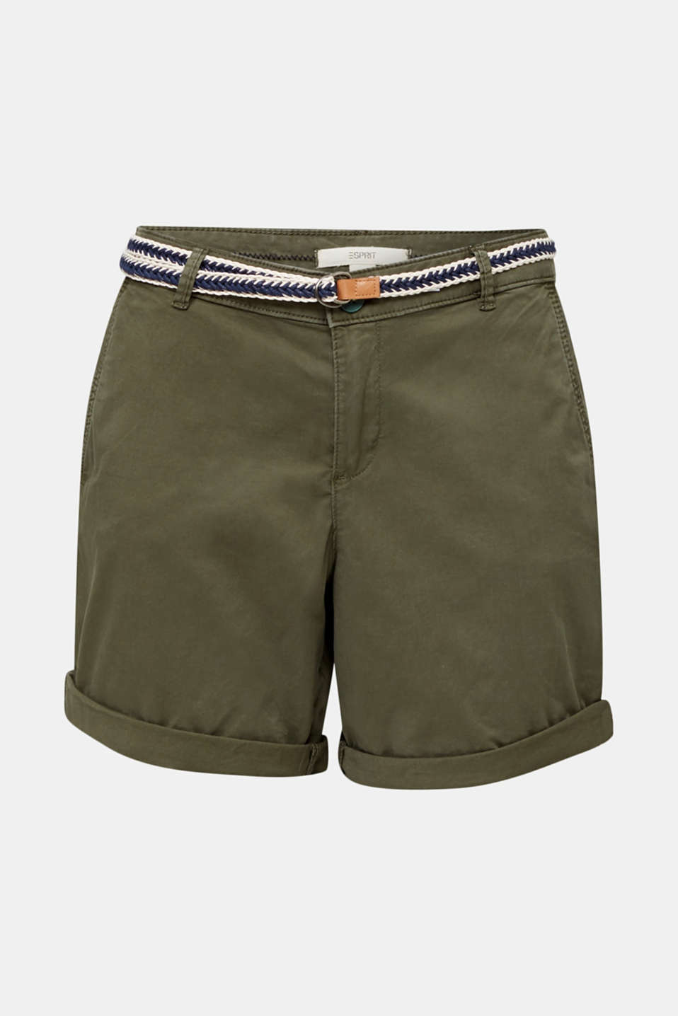 Stretch cotton shorts with Lycra xtra life™, KHAKI GREEN, detail image number 6