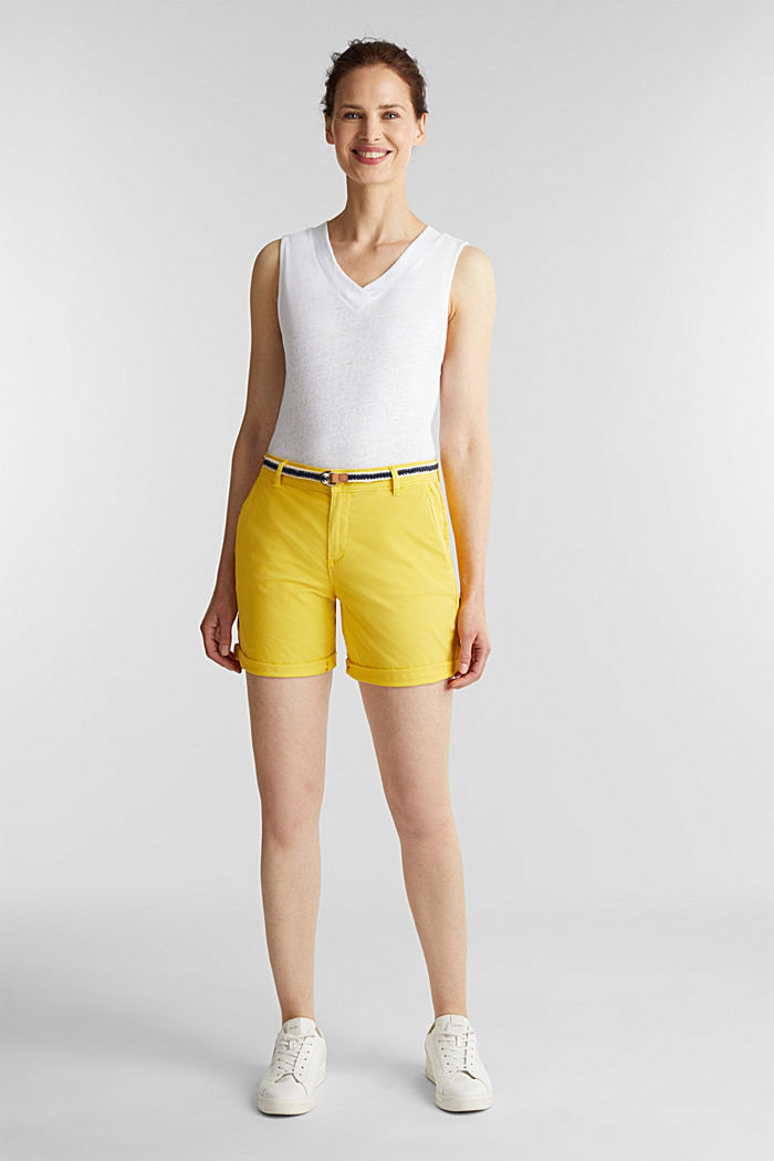 Stretch shorts with Lycra xtra life™, BRIGHT YELLOW, detail image number 1