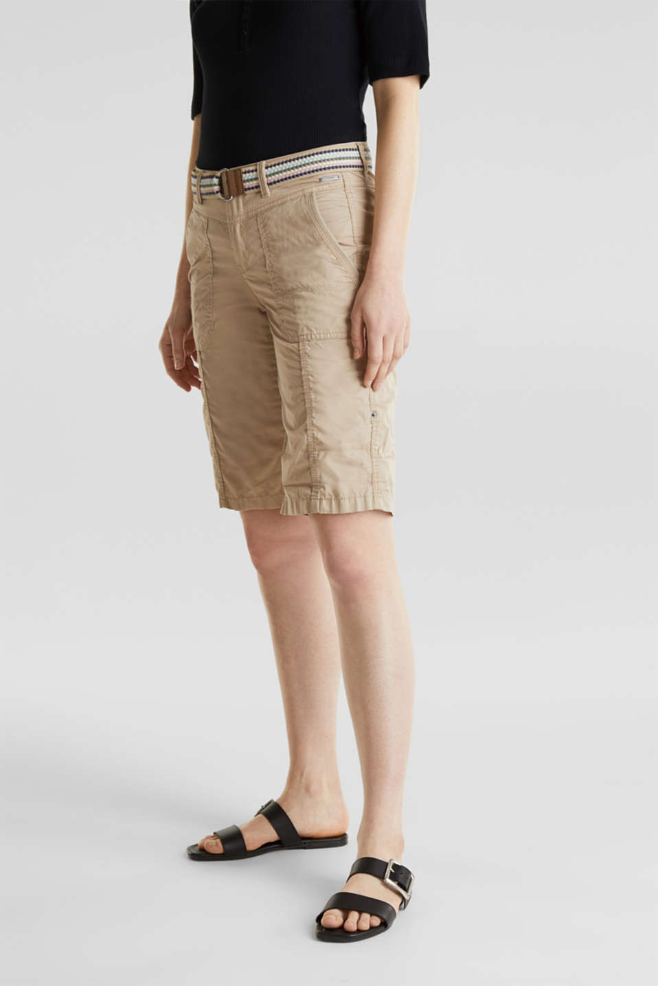 PLAY cotton shorts, BEIGE, detail image number 6