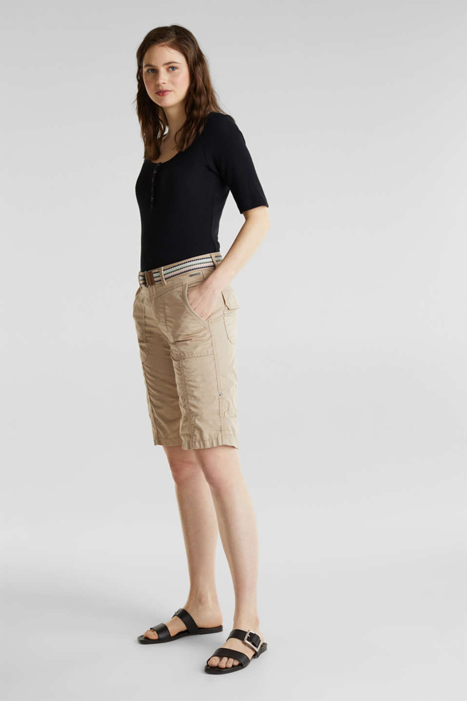 PLAY cotton shorts, BEIGE, detail image number 1