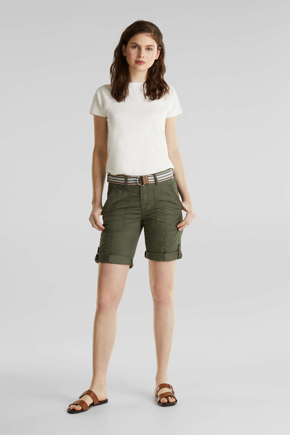 PLAY cotton shorts, KHAKI GREEN, detail image number 0