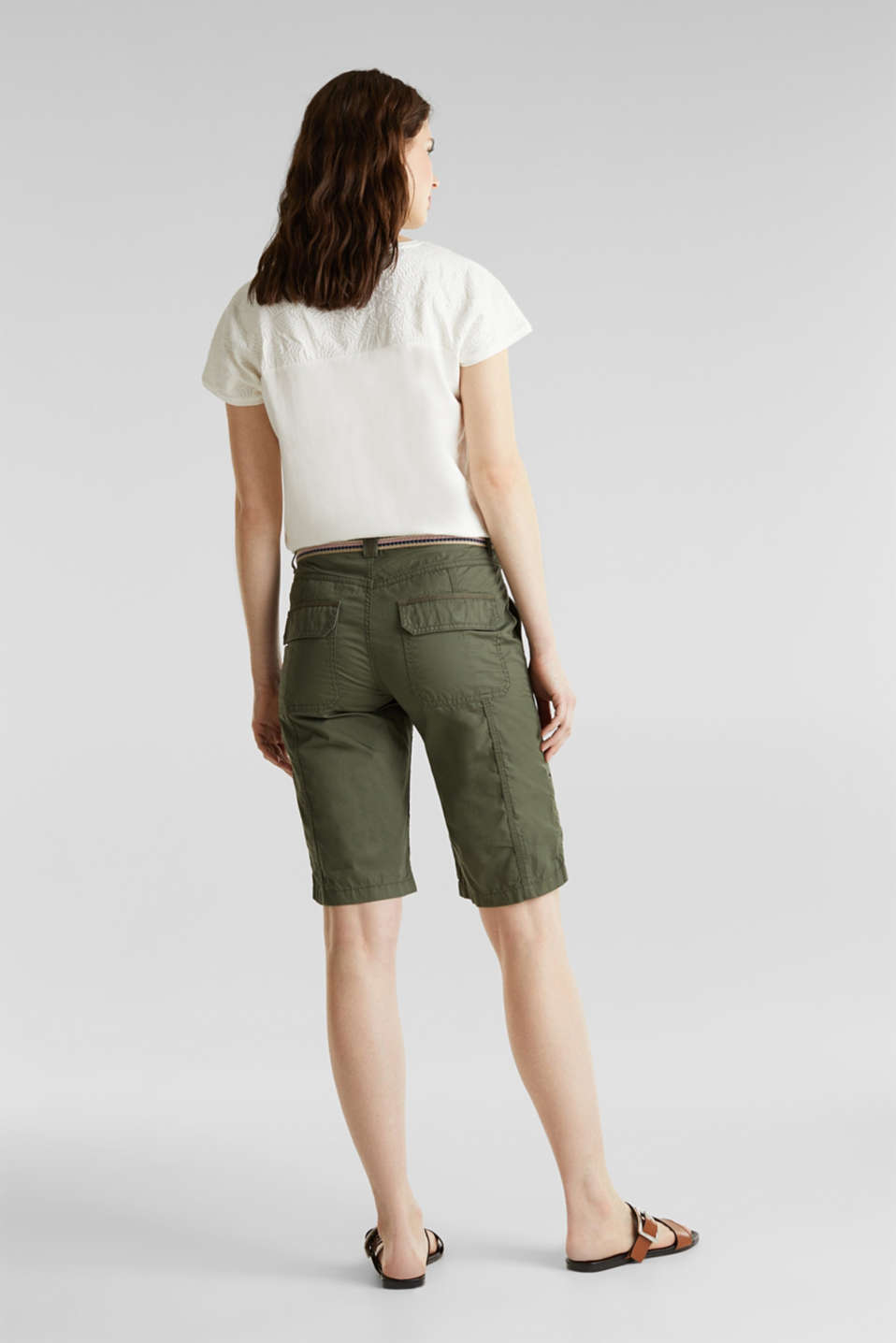 PLAY cotton shorts, KHAKI GREEN, detail image number 3