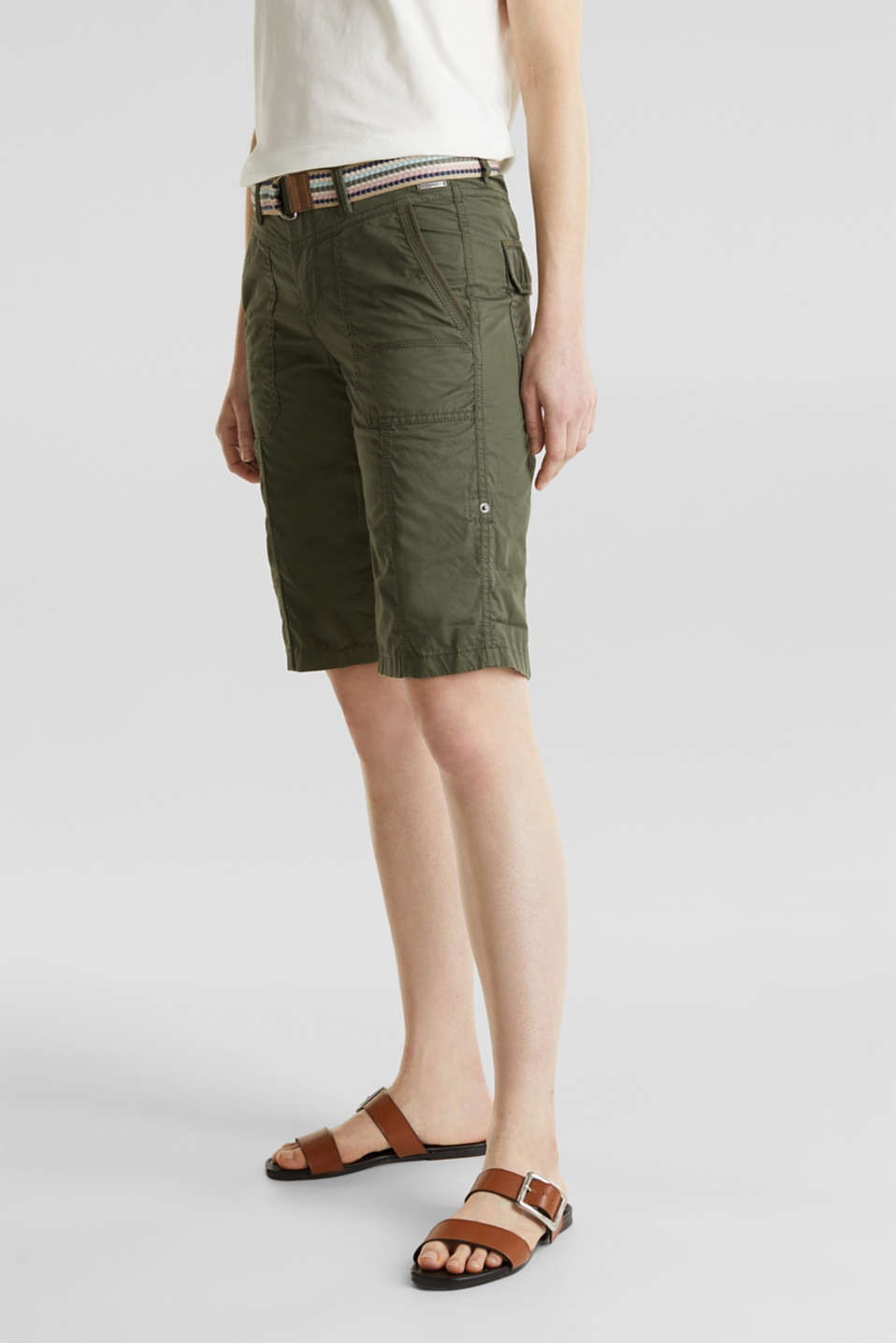 PLAY cotton shorts, KHAKI GREEN, detail image number 5