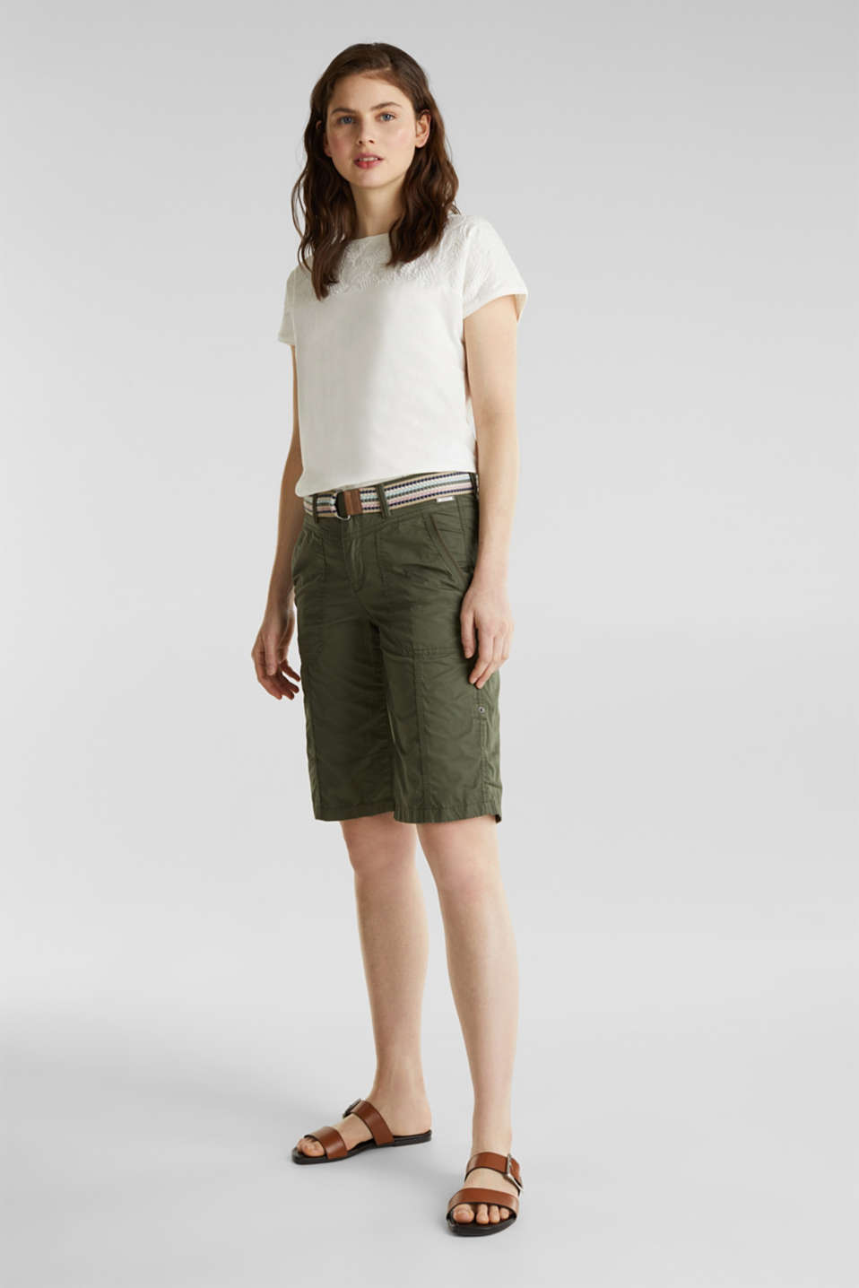PLAY cotton shorts, KHAKI GREEN, detail image number 1