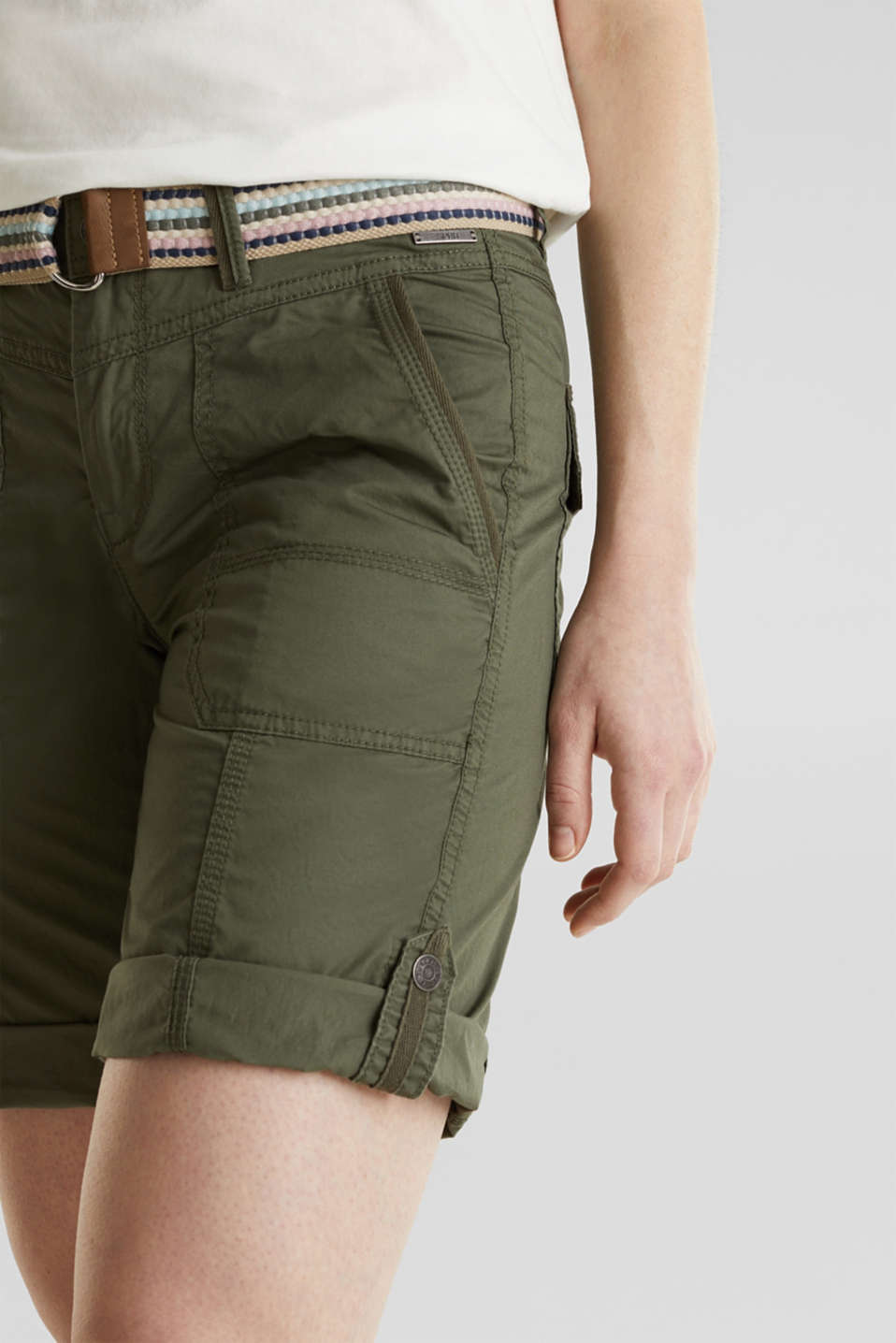 PLAY cotton shorts, KHAKI GREEN, detail image number 2