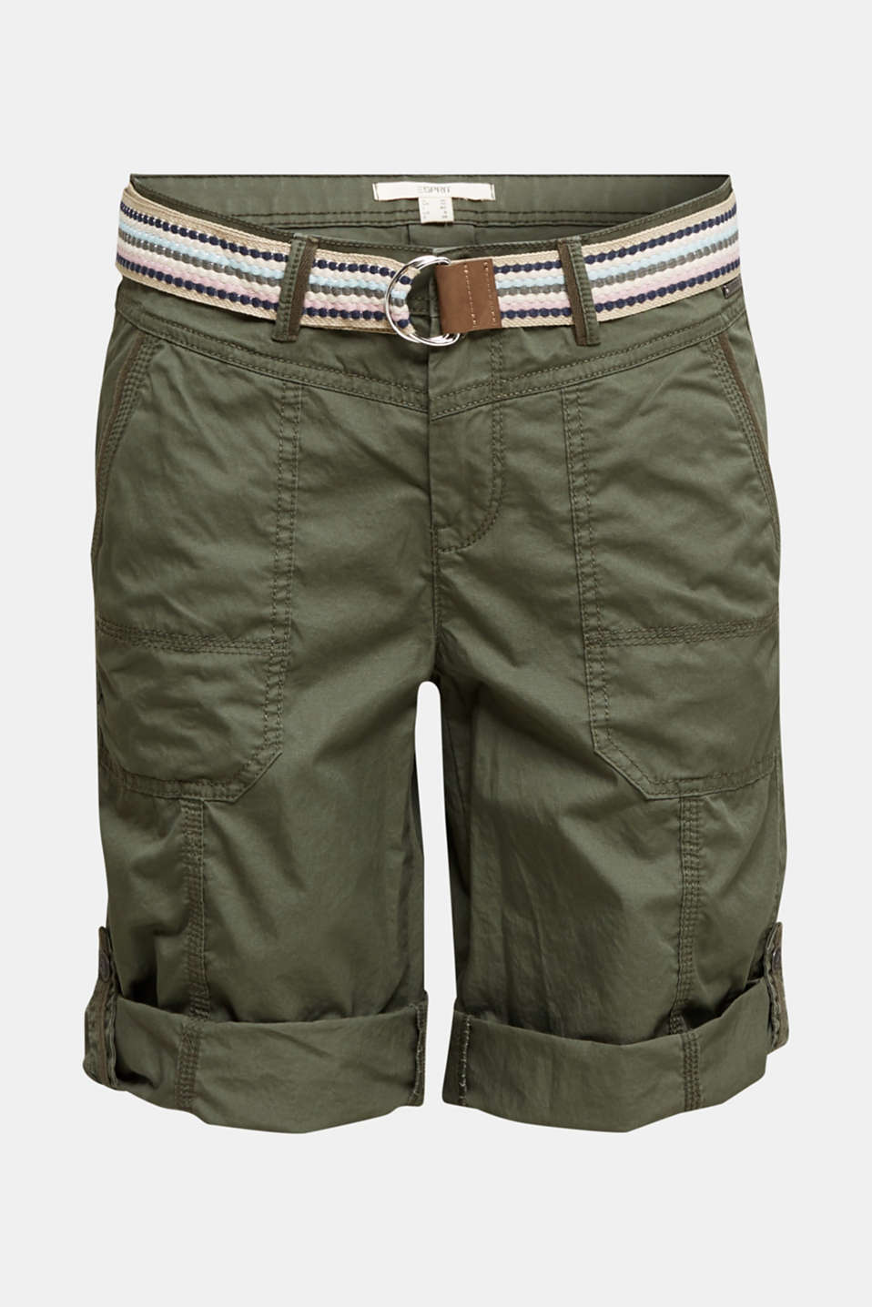PLAY cotton shorts, KHAKI GREEN, detail image number 6