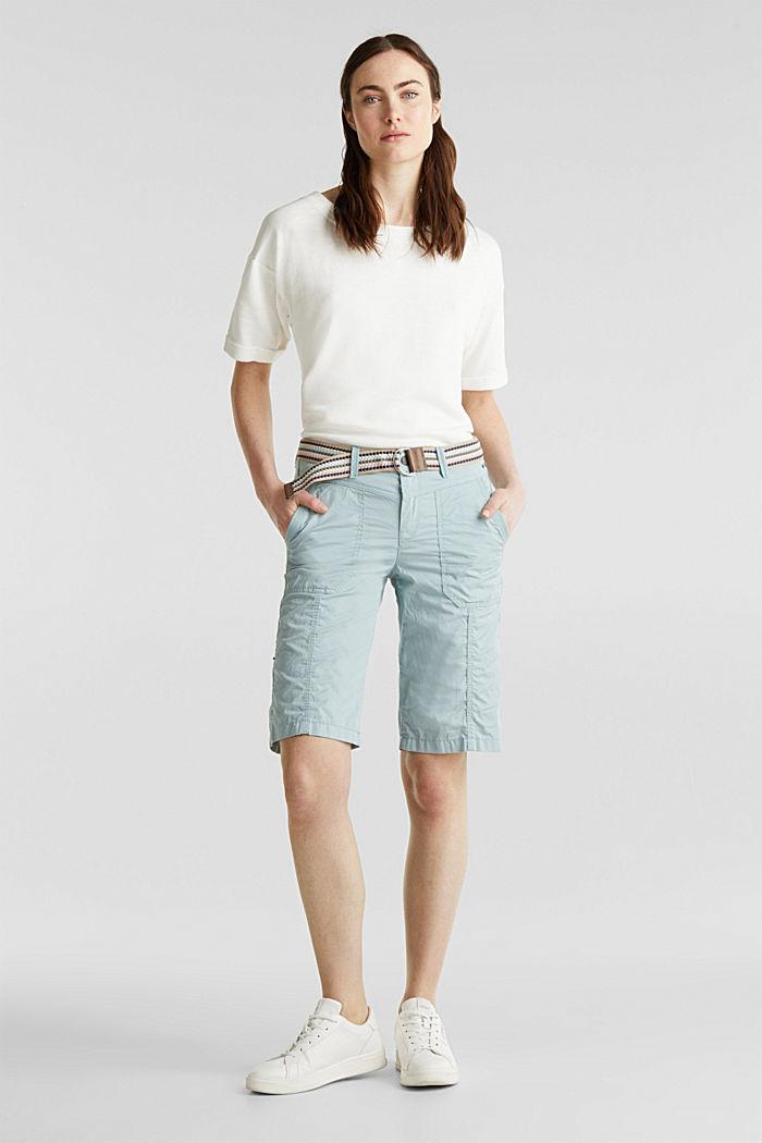 PLAY cotton shorts, LIGHT AQUA GREEN, detail image number 0