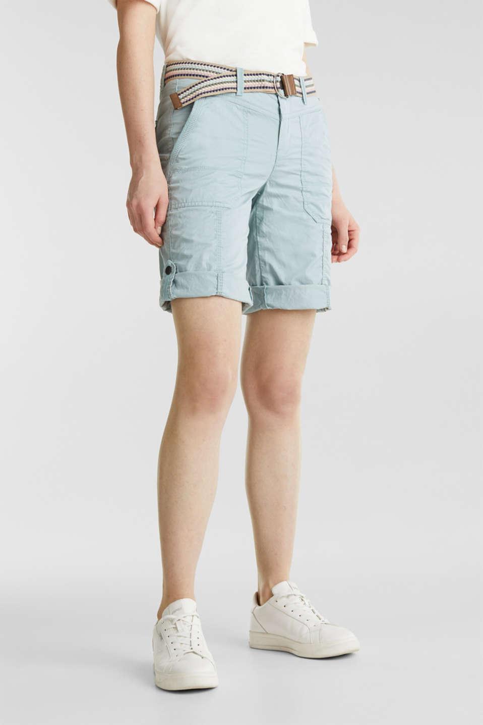 PLAY cotton shorts, LIGHT AQUA GREEN, detail image number 6