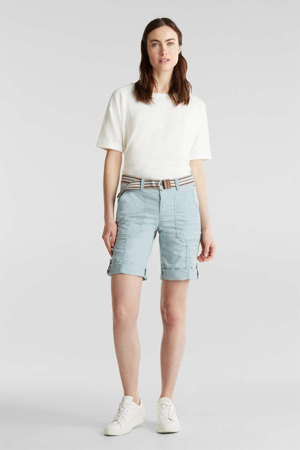 PLAY cotton shorts, LIGHT AQUA GREEN, detail image number 1