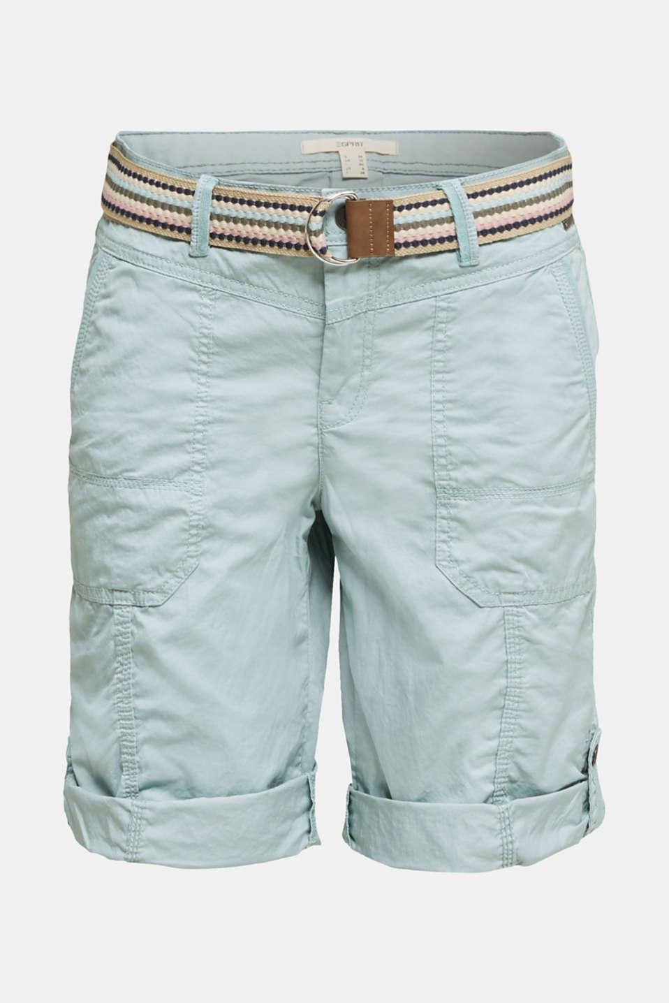PLAY cotton shorts, LIGHT AQUA GREEN, detail image number 7