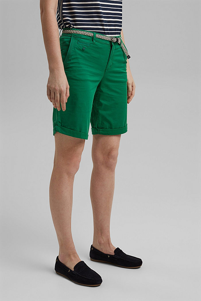 Chino shorts with a belt, LEAF GREEN, detail image number 0