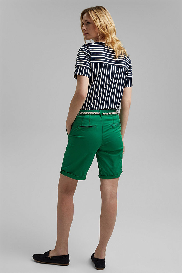 Chino shorts with a belt, LEAF GREEN, detail image number 3