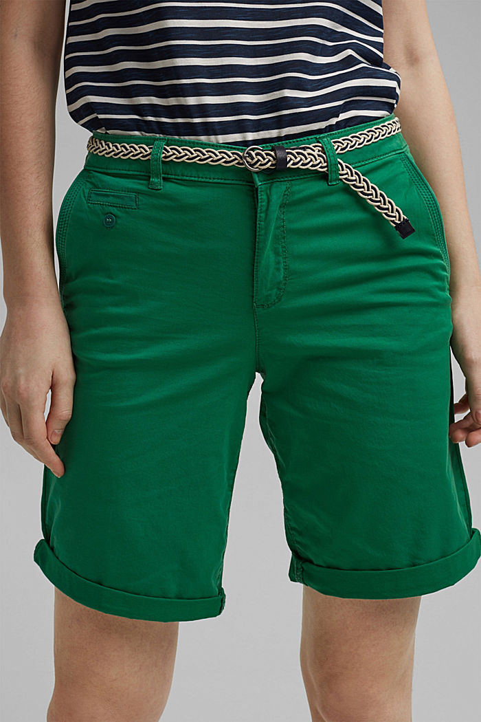Chino shorts with a belt, LEAF GREEN, detail image number 2