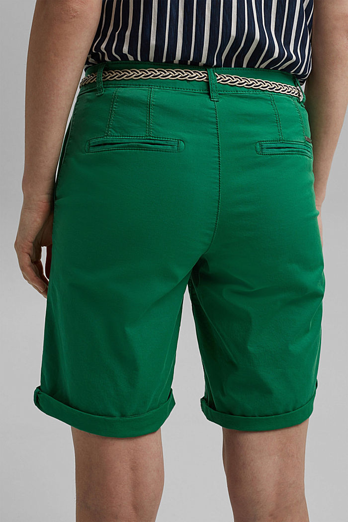 Chino shorts with a belt, LEAF GREEN, detail image number 5