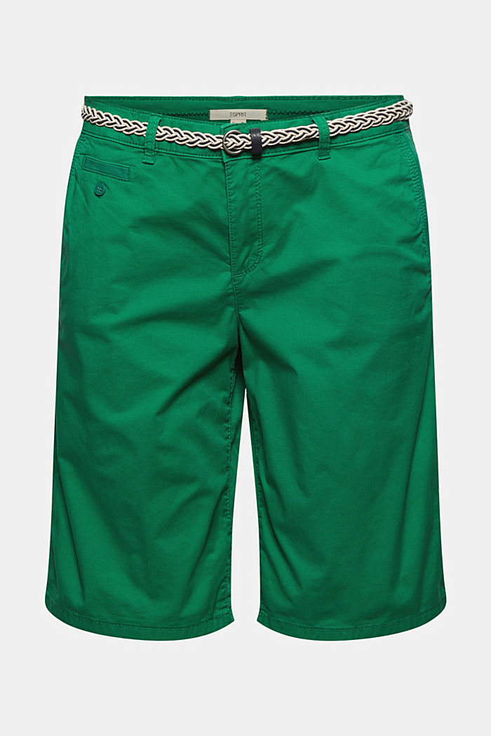 Chino shorts with a belt, LEAF GREEN, detail image number 6