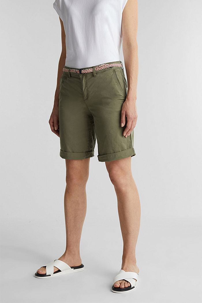 Chino shorts with a belt, LIGHT KHAKI, detail image number 0