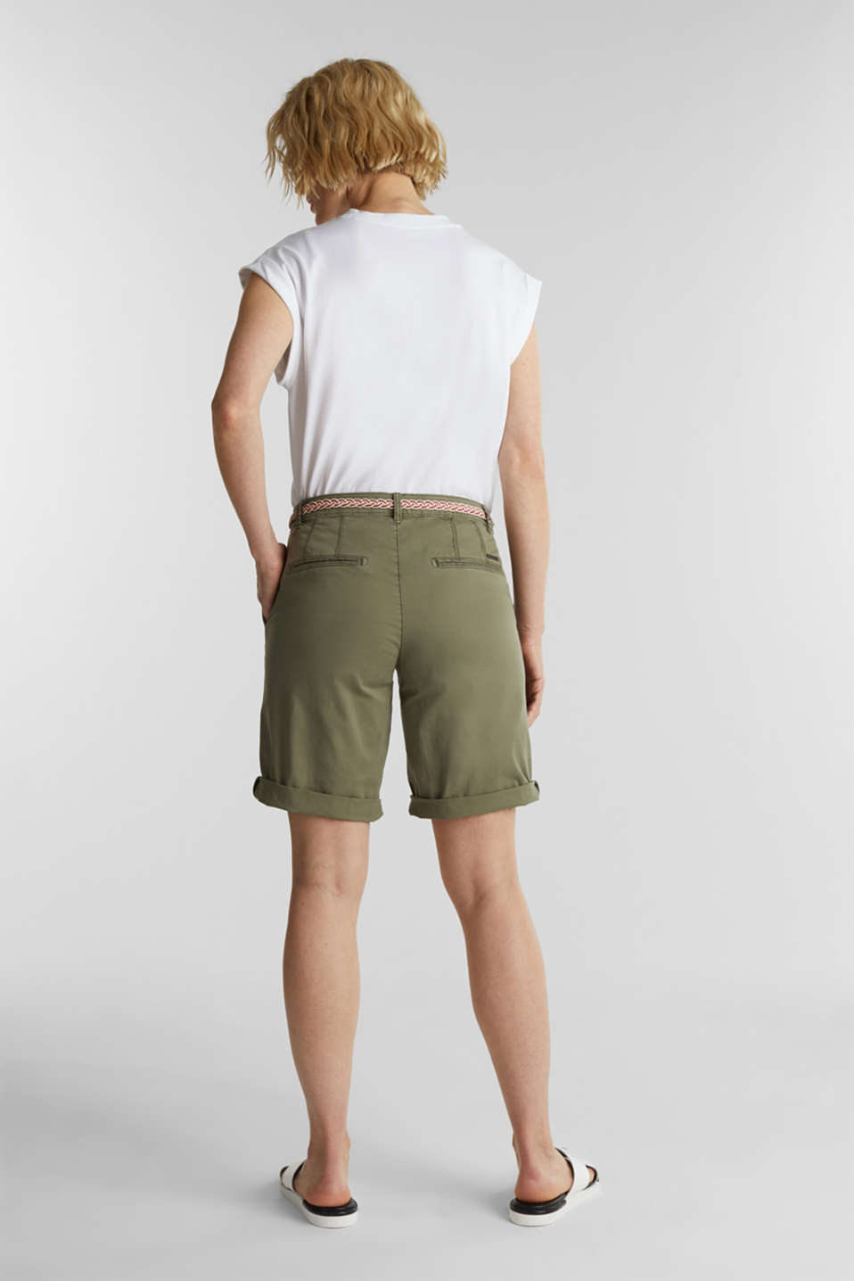 Chino shorts with a belt, LIGHT KHAKI, detail image number 3