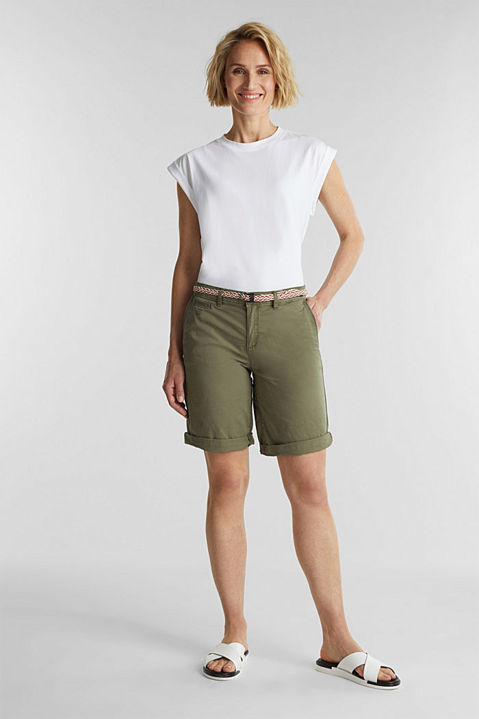 Chino shorts with a belt, LIGHT KHAKI, detail image number 1