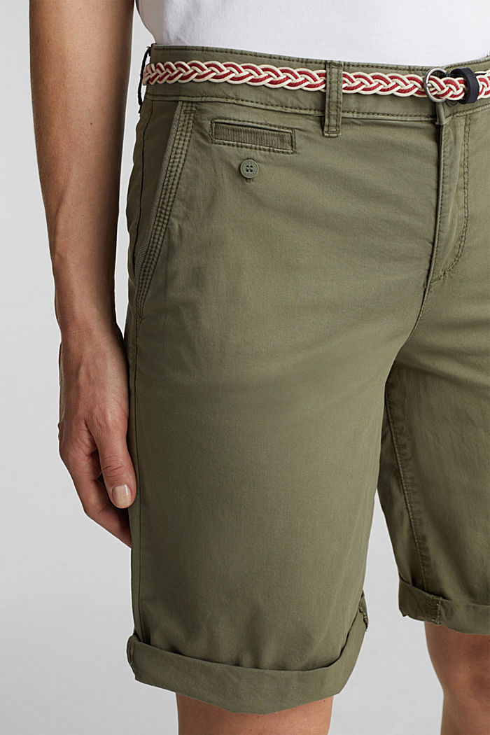 Chino shorts with a belt, LIGHT KHAKI, detail image number 2