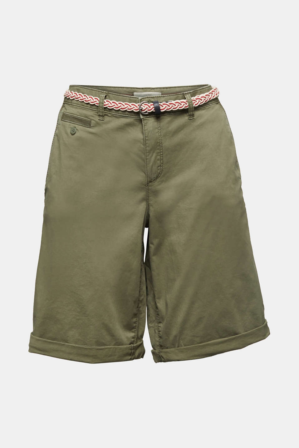 Chino shorts with a belt, LIGHT KHAKI, detail image number 6