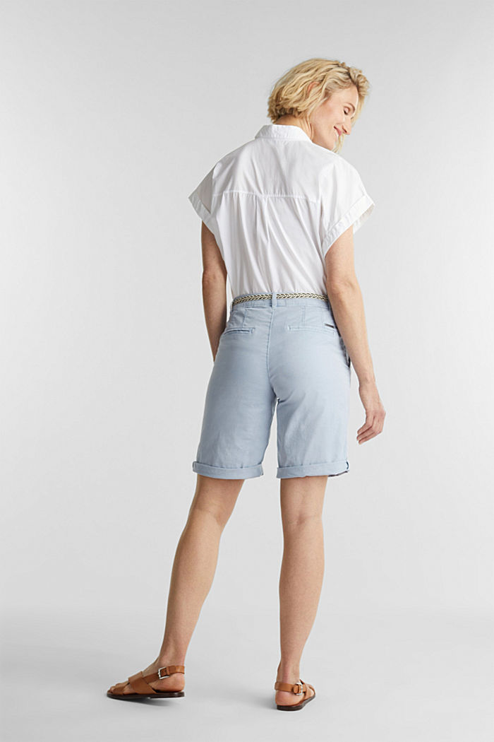 Chino shorts with a belt, LIGHT BLUE, detail image number 3