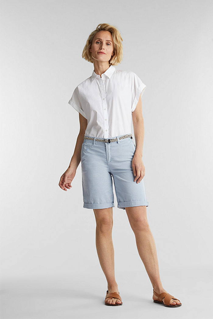Chino shorts with a belt, LIGHT BLUE, detail image number 1