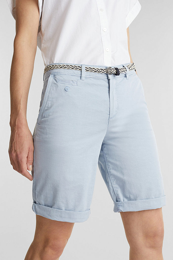 Chino shorts with a belt, LIGHT BLUE, detail image number 2