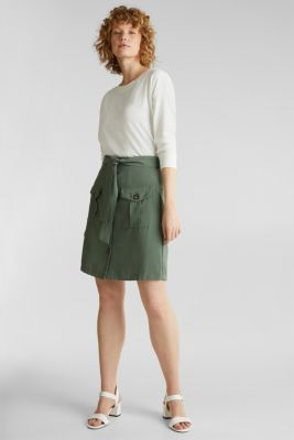 Skirt shorts in a utility look, KHAKI GREEN, detail
