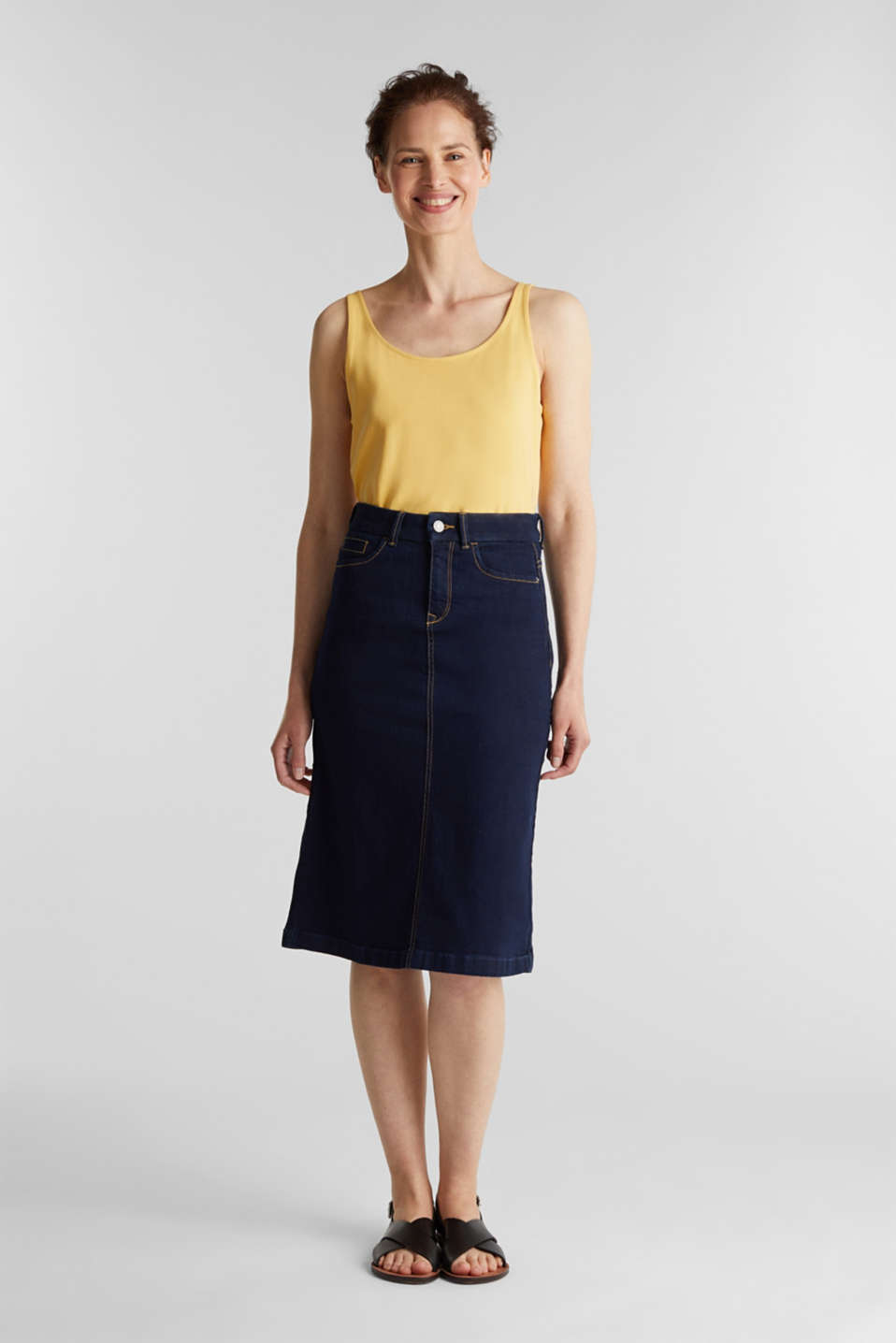 Esprit - Denim rok met stretch