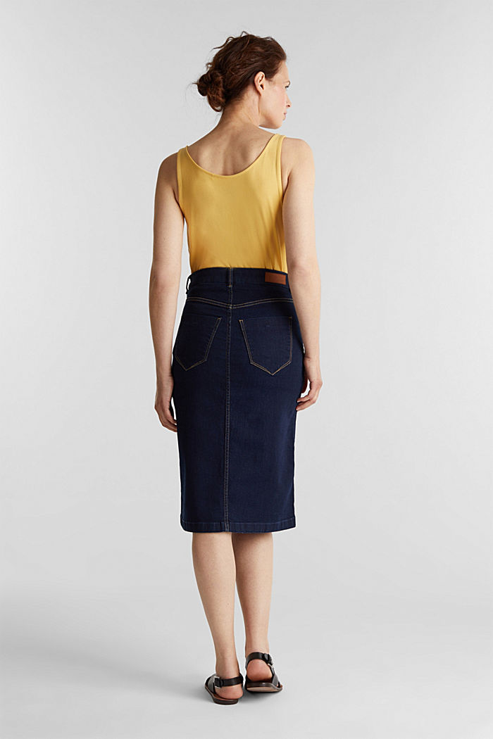 Denim skirt with stretch for comfort, BLUE RINSE, detail image number 2