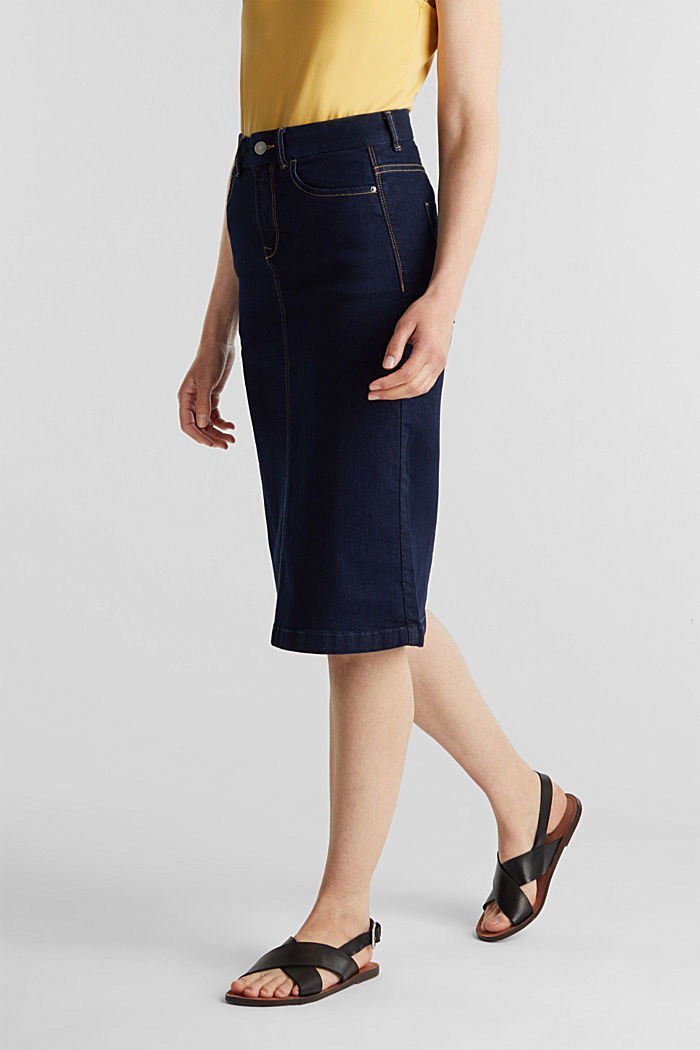 Denim skirt with stretch for comfort, BLUE RINSE, detail image number 5