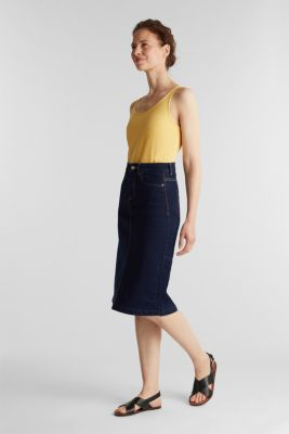 Denim skirt with stretch for comfort, BLUE RINSE, detail