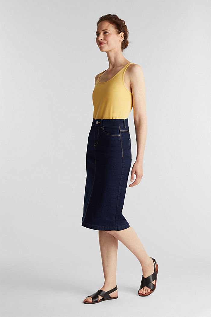 Denim skirt with stretch for comfort, BLUE RINSE, detail image number 0