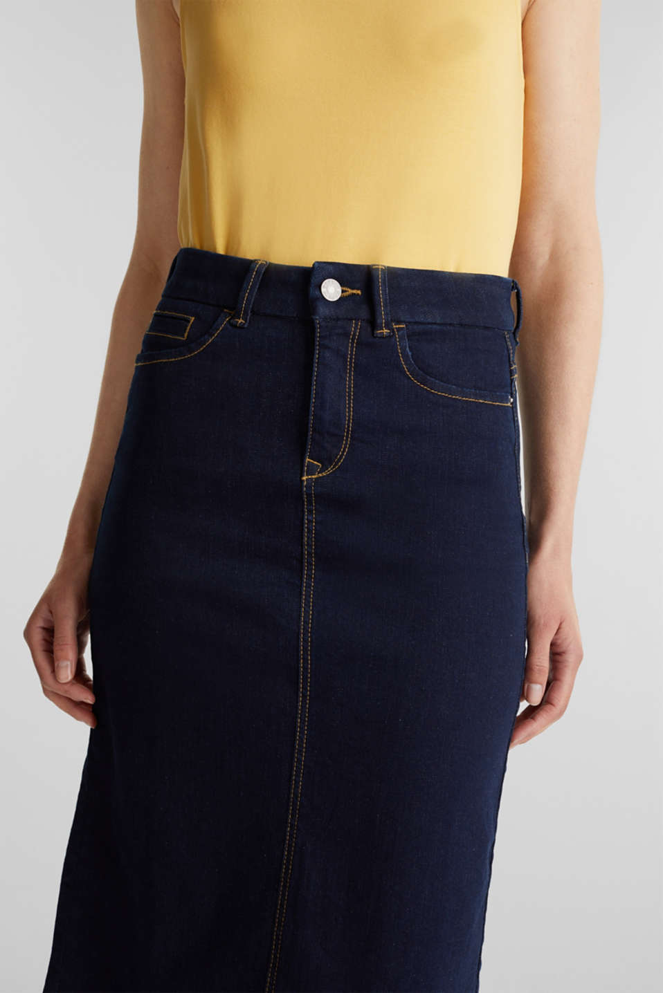 Denim skirt with stretch for comfort, BLUE RINSE, detail image number 1