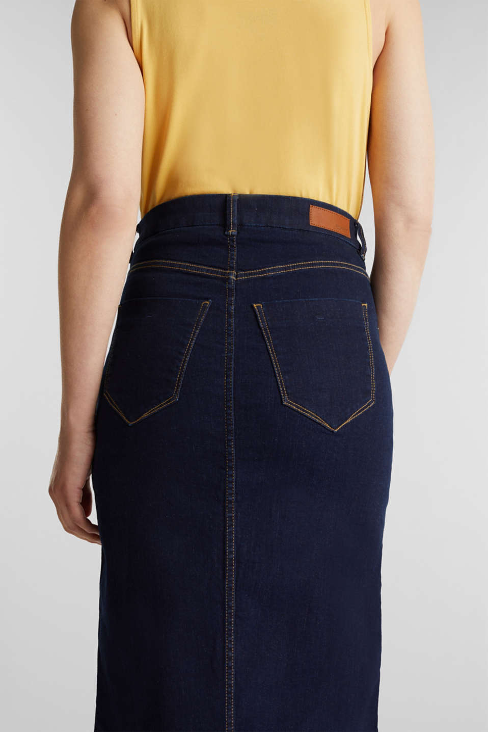 Denim skirt with stretch for comfort, BLUE RINSE, detail image number 4
