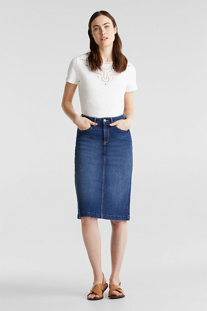 Denim skirt with stretch for comfort, BLUE MEDIUM WASHED, detail image number 0