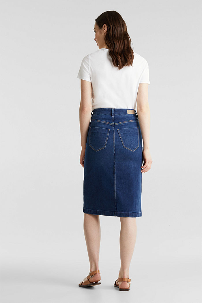 Denim rok met stretch, BLUE MEDIUM WASHED, detail image number 3