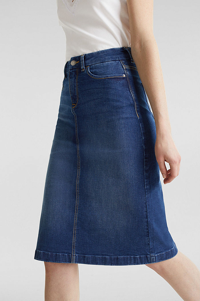 Denim rok met stretch, BLUE MEDIUM WASHED, detail image number 5